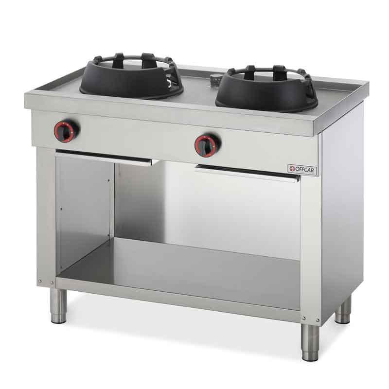 Cucina wok professionale a gas a parete con 2 fuochi - Cucine in linea ...