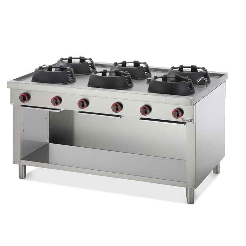 Cucina wok professionale a gas a parete con 6 fuochi - Cucine a parete ...
