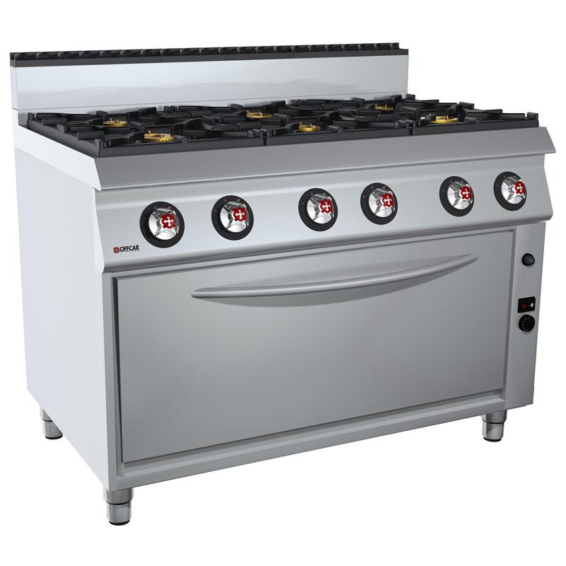 Cucina professionale gas 6 fuochi e forno a gas GN3/1
