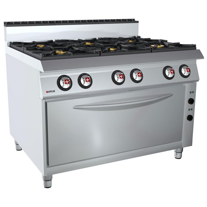 Cucina professionale gas 6 fuochi, forno gas GN3/1 stile 980