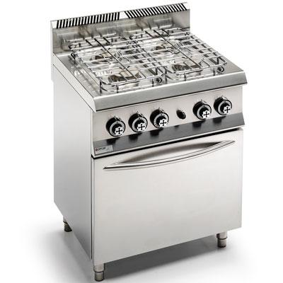 Piano cottura professionale 4 fuochi e forno gas, unico 650